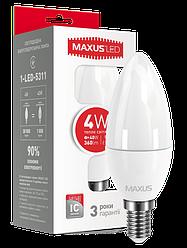 Світлодіодна лампа Maxus 5311 С37 4W 3000K 220V E14-Код.53584