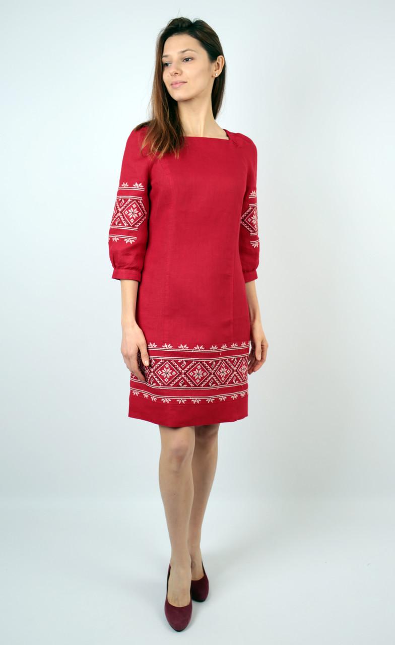 Вишите лляне червоне плаття з машинною вишивкою  продажа 8eb62377b0a18