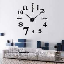 Настінний годинник з 3D-ефектом з написами та цифрами, чорного кольору, 3M002В, фото 1