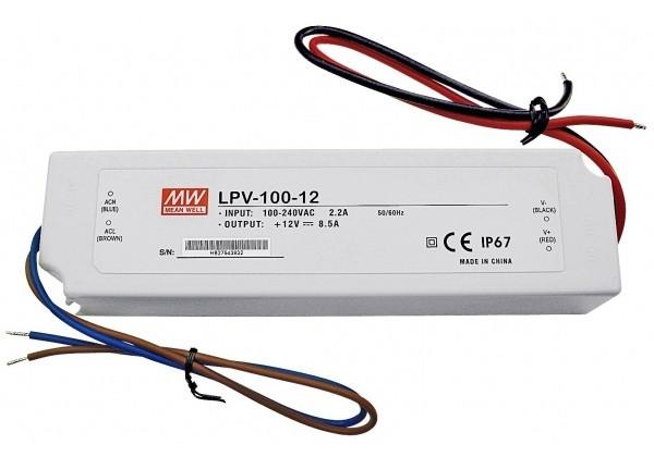 Блок живлення Mean Well LPV-100-12 12В; 8.5 А; 102 Вт IP67 (герметичний) Код.59017