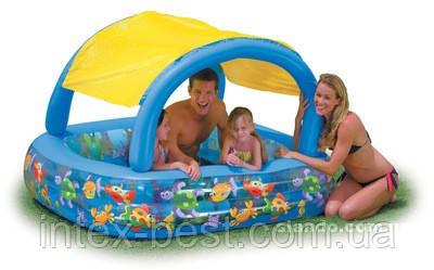 """Детский надувной бассейн """"Рыбки"""" с навесом Intex 56471 (161х161х114x42 см.)"""