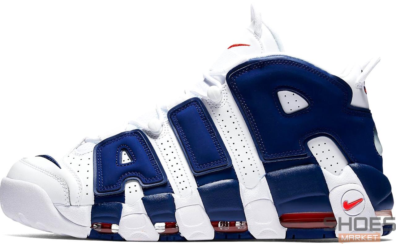 Мужские кроссовки Nike Air More Uptempo White/Blue 921948-101, Найк Аир Мор Аптемпо