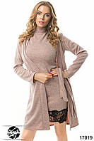 Женское платье с кардиганом в комплекте из трикотажа ангора розового цвета. Модель 17019