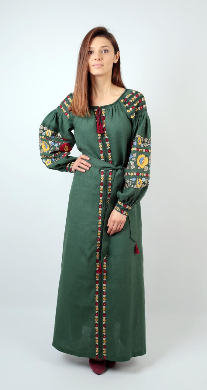 ... Вишите лляне довге зелене плаття з машинною вишивкою 58604686d6188
