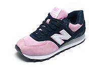 Кроссовки женские/подросток New Balance 574, розовые с темно-синим, р. 37 39 40