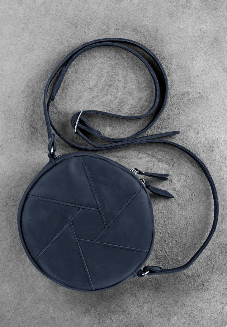 8f78bcc0dfec Кожаная круглая сумка кроссбоди Бон-бон Ночное небо - «Артмин» - интернет-