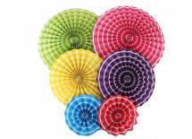Набор бумажных вееров для декора 6 шт., гаваи