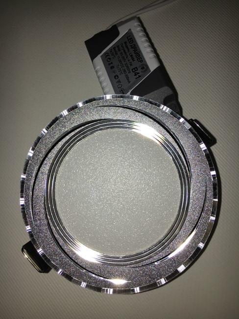 Светодиодная панель Lemanso LM 490 9W 4500K кругл. алюминий, хром  Код.58798