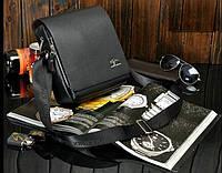 Стильная мужская сумка KANGAROO (черная 27*23см.) Сумка-планшетка - сумка через плечо.