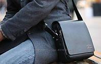Стильная мужская сумка KANGAROO (черная 21*17см.) Сумка-планшетка - сумка через плечо.