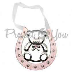 Подкова счастья «Мишка», розовая,10 см (473-3084)