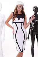 Элегантное платье карандаш черное с белым