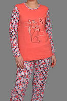Теплая пижама с начесом байковая женская зимняя хлопковая комплект домашний кофта и штаны