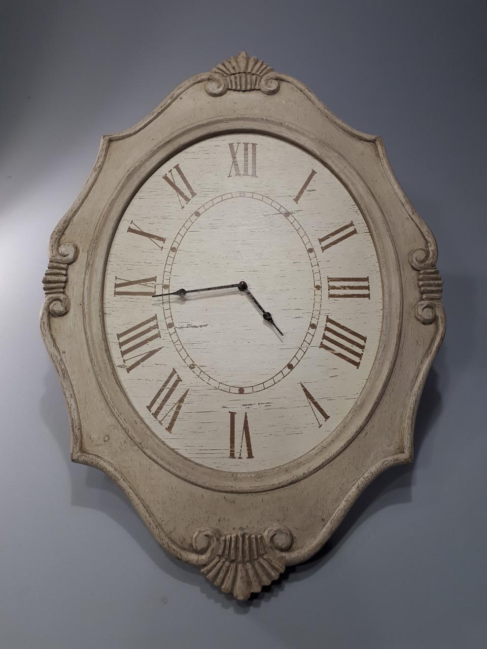 Часы настенные деревянные Прованс Овальные