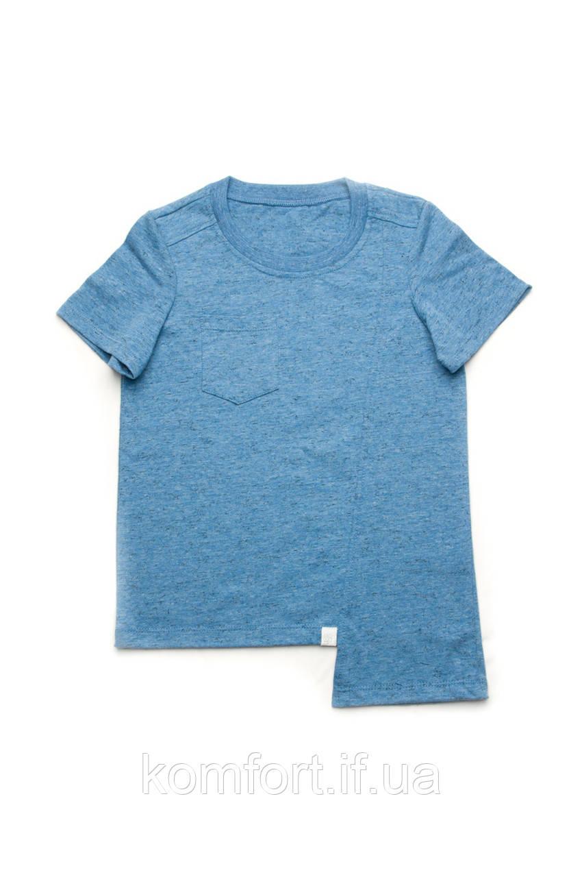 Детская футболка для мальчика базовая (синий меланж)