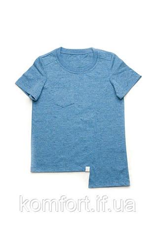 Детская футболка для мальчика базовая (синий меланж) , фото 2