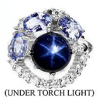 Кольцо сапфир звездчатый и танзаниты натуральные серебро 925