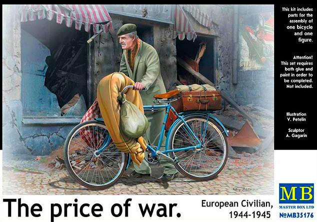 Европейский гражданский с велосипедом 1944-1945.  Фигурка в масштабе 1/35. MASTER BOX 35176