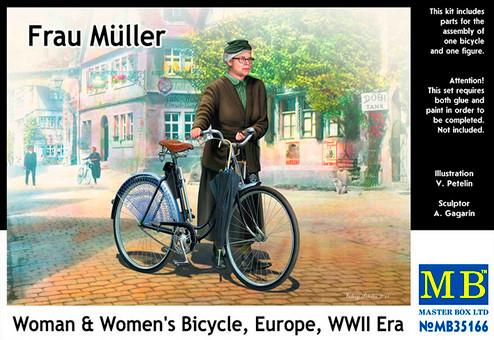 Модель немецкого женского велосипеда с фигурой Фрау Мюллер в масштабе 1/35. MASTER BOX 35166