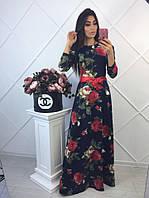 Женское нежное платье макси в розах
