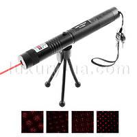 Фонарь-лазер красный HJ-308, 1x18650, ЗУ 220V, ключ блокировки, ремешок на руку, штатив, комплект