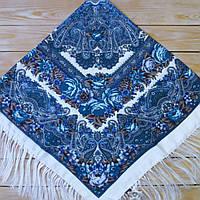Красивый белый платок для девушек с цветами (120х120см, белый, 80%-шерсть), фото 1