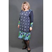 Платье Букет большого размера (60, 62, 64), женское платье батал голубой букет