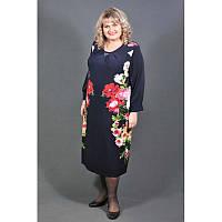 Платье Очарование большого размера (60, 62, 64), женское платье батал красный цветок