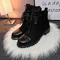 Женские чёрные  демисезонные ботиночки замшевые