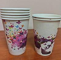 Бумажный стакан 340 мл девушка и бабочки
