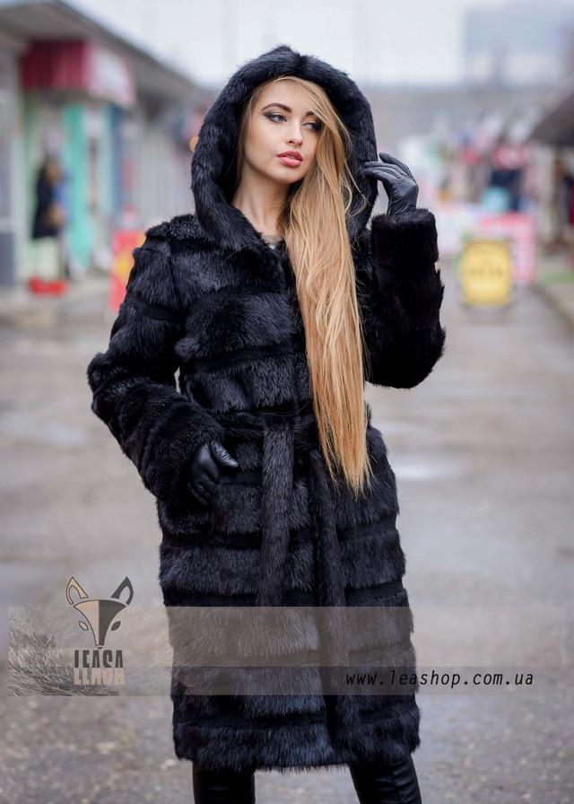Женская черная поперечная шуба из натурального меха, ФОТО