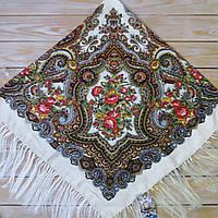 Красивый платок для девушки с узорами и цветами (120х120см, шампань, 80%-шерсть)