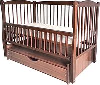 Кроватка для новорожденных Twins Элит шарнир/ящик, подшипник, откидной бортик, орех (5907)