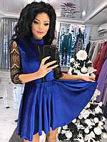 Женское платье выше колен с декором по груди и кружевным рукавчиком 3/4, фото 1