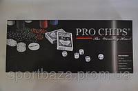 Покерный набор в цвет. карт. коробке-200 (300фишек с ном,2кол.карт,5куб,р-р 41*17,5*4,7см)