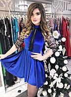 Женское платье выше колен с декором по груди и кружевными рукавчиками 3/4 БАТАЛ
