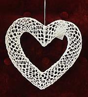 Декорация, Сердце вязанное крючком, 22х22 см, Подарки к дню святого Валентина