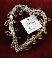Сердце декоративное, лоза кристалл, размер:12х9 см, подвеска, Романтические подарки, Днепр
