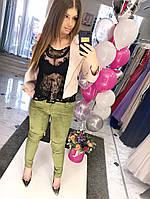 Женские утеплённые брюки-леггинсы в обтяжку с лямками и карманами БАТАЛ