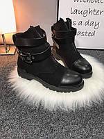 Женские замшевые демисезонные ботиночки чёрные