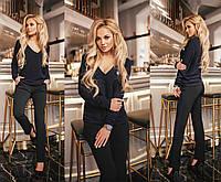 Костюм норма брюки - креп сафари, кофта- фактурный трикотаж- жаккард Мод 287 (AMBR)