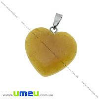 Подвеска Сердце из натурального камня, Кварц желтый, 28х20 мм, 1 шт (POD-023907)