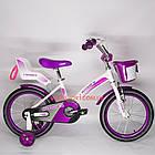 Детский велосипед Crosser Kids Bike 16 дюймов с сиденьем для куклы бело-фиолетовый, фото 3