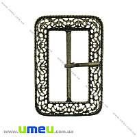 Пряжка металлическая прямоугольная, 68х46 мм, Античная бронза, 1 шт (SEW-023984)