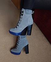 Ботинки из натуральной замши серые на толстом каблуке