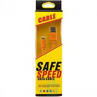 USB-Lightning шнур для iPhone 5/5S Safe Speed тканевый Оранжевый