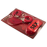 Набор Любви красный (наручники, перо, повязка), фото 2