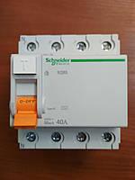 """УЗО (дифференциальный выключатель нагрузки) 4 полюса 40А 30мА schneider electric серии """"Домовой"""""""