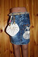 Джинсова спідничка з сумочкою, розмір 110