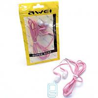 Наушники Awei Super Bass в пакете розовые